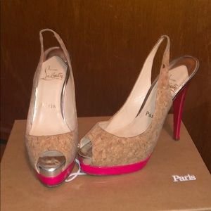 Christian Louboutin cork sling backs